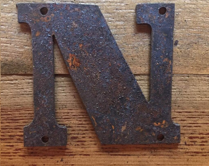 """Bold """"N"""" - 4"""" Rusty, Rusted, Rustic Metal Letter - Make your own Sign, Gift, Art"""