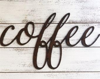 "COFFEE Thin Script - 18"" Rusty Metal Script Sign"