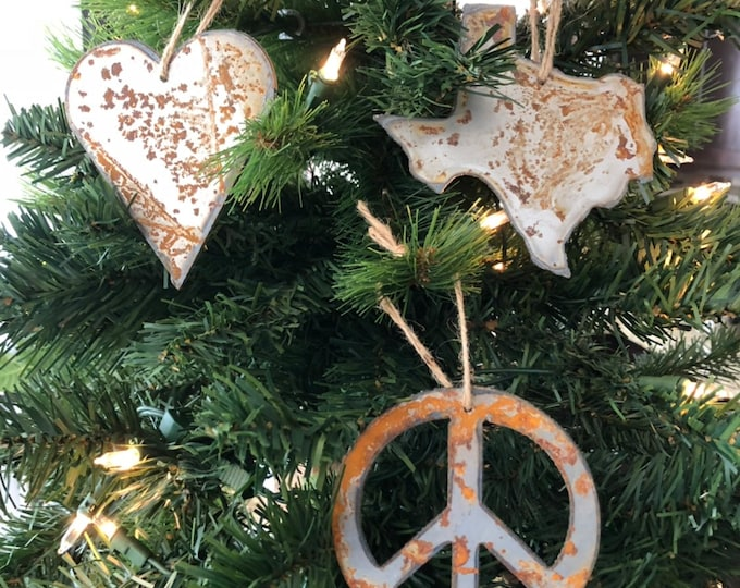 "Peace, Love, Texas - Rusted Metal Ornament Gift Set - PEACE, TEXAS, HEART - 4"" tall"