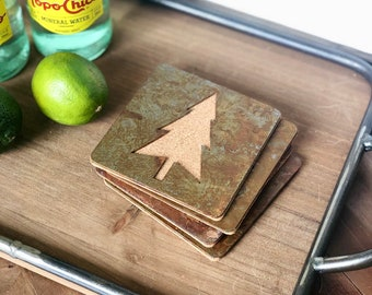 Evergreen Tree - Set of 4 Square Coasters - Rusty, Rusted, Rustic Metal Coasters