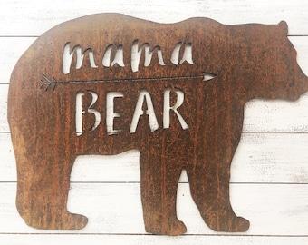 "Mama Bear - 12"" Rusty Metal MAMA BEAR - For Art, Sign, Decor - Make your own DIY Gift!"