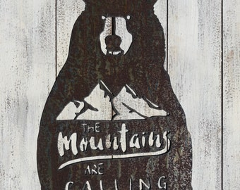 """Mountains Are Calling - 12"""" Rusty Metal Bear Sign - For Art, Sign, Decor - Make your own DIY Gift!"""