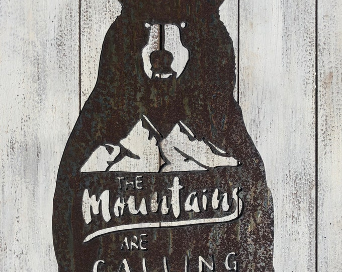 "Mountains Are Calling - 18"" Rusty Metal Bear Sign - For Art, Sign, Decor - Make your own DIY Gift!"