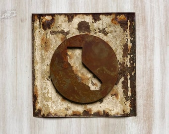 "California State Magnet - 4"" Rusty, Rustic Metal Round California Cutout Magnet"