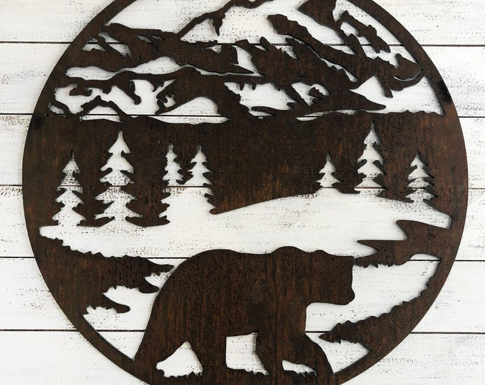 "Round Bear Scene - 18"" Rusty Metal Mountain Sign - For Art, Sign, Decor - Make your own DIY Gift!"