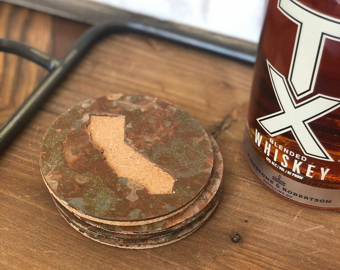 California - Set of 4 Round Coasters - Rusty, Rusted, Rustic Metal Coasters