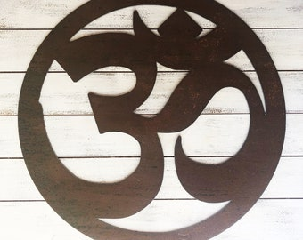 """Om - 6"""" Rusty, Rustic Om Sign, Symbol - Make your own Sign, Gift, Art!"""
