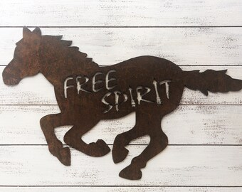 "Free Spirit - 18"" Rusty Metal Horse -  For Art, Sign, Decor - Make your own DIY Gift!"