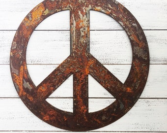 """Peace Sign - 8"""" Rusty, Rustic Metal PEACE SYMBOL - Make your own Sign, Gift, Art!"""