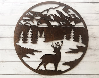 "Round Buck Mountain Scene - 18"" Round Rusty Metal - For Art, Sign, Decor - Make your own DIY Gift!"