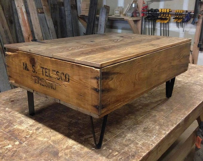 """Featured listing image: Reclaimed Vintage Fruit Crate Coffee Table with Metal Legs - Removable Lid for Storage - Approx 40""""x30""""x18"""""""