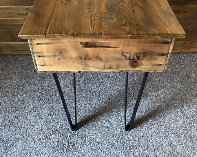 """Featured listing image: 25"""" x 19"""" x 24.5"""" Reclaimed Fruit Crate End Table with Lid and Storage"""