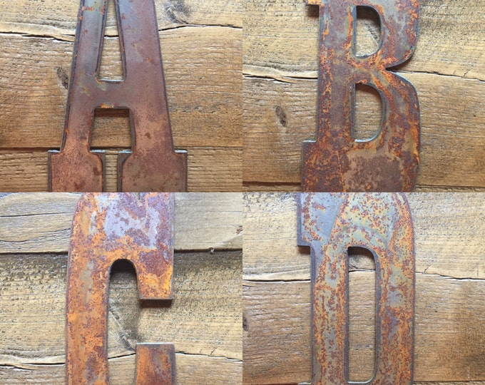 """Featured listing image: 6"""" Rusty  Metal Letters - Make your own Sign, Gift, Art"""
