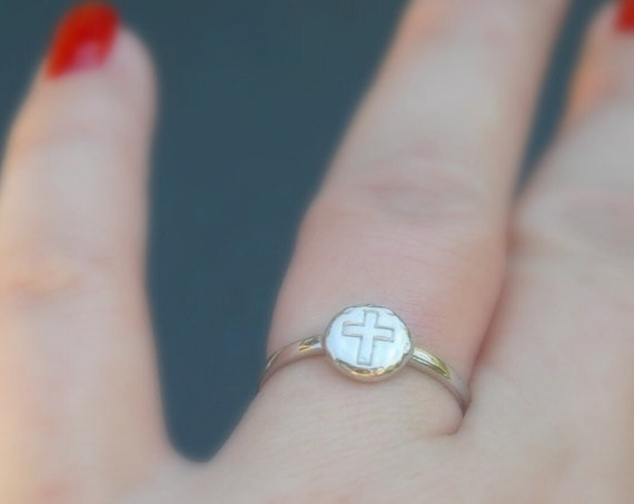 Sterling silver cross ring, silver stacking rings for women, christian jewelry, purity ring, confirmation gift, minimalist ring