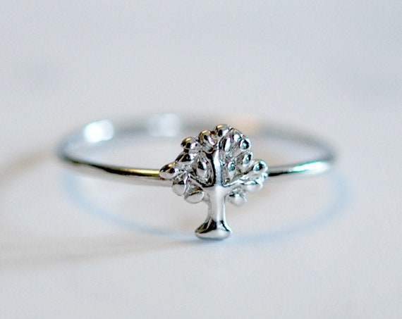 Sterling silver tree ring, stacking rings for women, boho ring, tree of life jewelry, minimalist ring, botanical jewelry, nature inspired