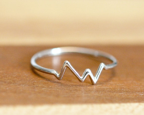Sterling silver heartbeat ring, silver stacking ring, mountain ring, ekg ring, heart rate, nurse gift, doctor gift, rings for women