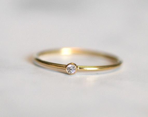Skinny gold stacking ring, cubic zirconia solitaire, gold solitaire ring, gold cz stacking ring, rings for women, gold ring, diamond ring