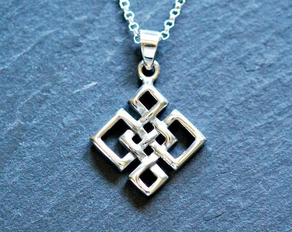 Celtic knot necklace, sterling silver love knot, quaternary knot, celtic pendant, irish pendant, eternity knot, protection symbol