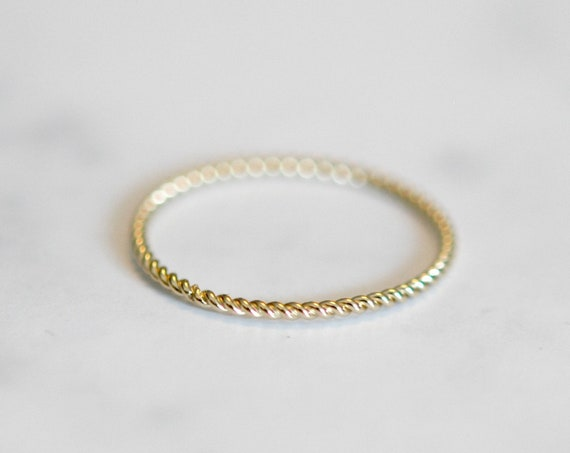 Gold ring, thin ring, gold stacking ring, gold stacker, delicate gold ring, rings for women, twisted wire ring, minimalist ring, simple ring