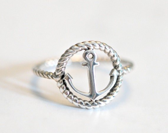 Sterling silver anchor ring, nautical jewelry, silver ring, refuse to sink, sailor ring, anchor jewelry, nautical ring, navy ring, christmas