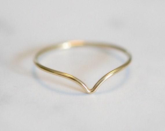 Gold chevron ring, thin gold stacking ring, thin ring, gold stacker, delicate gold ring, rings for women, geometric ring, minimalist, v ring