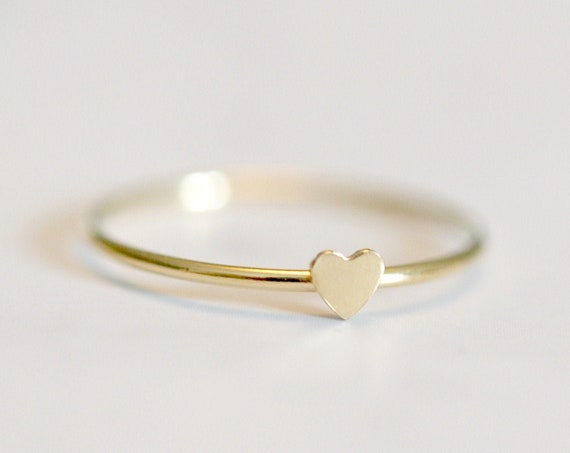 Tiny gold heart ring, gold stacking rings for women, heart stacker, delicate gold ring, mini heart, thin ring, minimalist ring