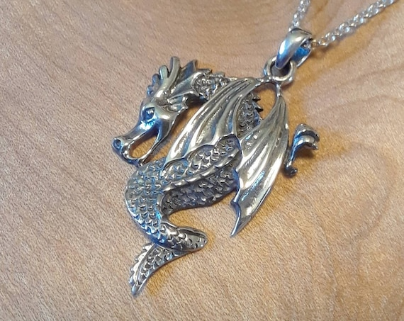 Sterling silver dragon necklace, winged dragon pendant, medieval dragon charm, horned dragon, symbolic necklace, cosplay dragon jewelry