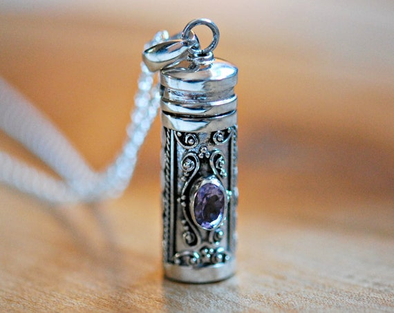 Sterling silver stash necklace, snuff pendant, stash tube, blue topaz, peridot, garnet, amethyst gemstone pendant, ashes pendant, cremation