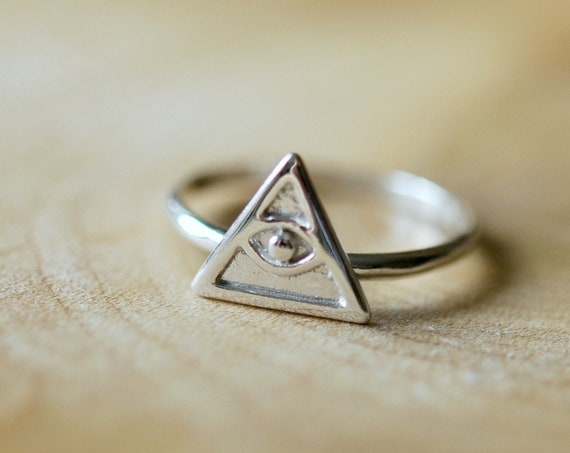 Sterling silver eye ring, rings for women, silver evil eye, protection jewelry, triangle ring, stacking ring, illuminati ring