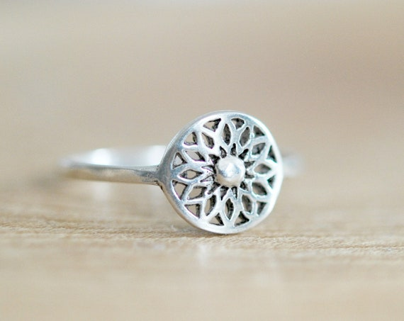Sterling silver flower of life ring, rings for women, flower ring, stacking ring, yoga jewelry, flower girl, seed of life, sacred geometry