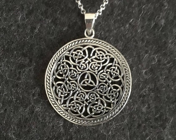 Celtic necklace, sterling silver celtic pendant, triquetra knot, silver celtic knot, irish jewelry, symbolic pendant, silver necklace