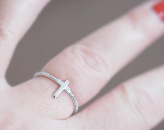 Sterling silver cross ring, rings for women, small cross, stacking ring, minimalist ring, cross jewelry, religious jewelry, purity ring