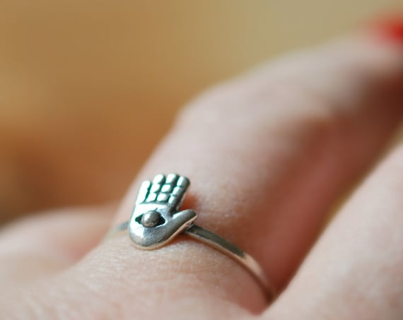 Sterling silver hamsa ring, hamsa hand, stacking ring, yoga jewelry, good luck, good fortune, protection ring, evil eye jewelry, amulet ring