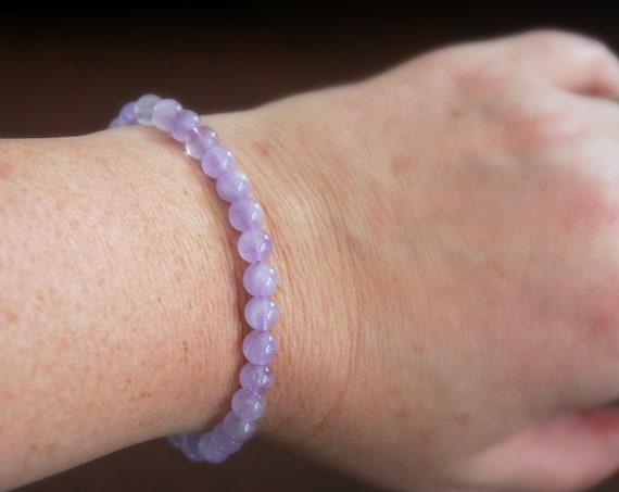 Lavender amethyst bracelet, pale purple gemstone, February birthstone, lavender bracelet, bohemian jewelry, purple bracelet, bridesmaid gift