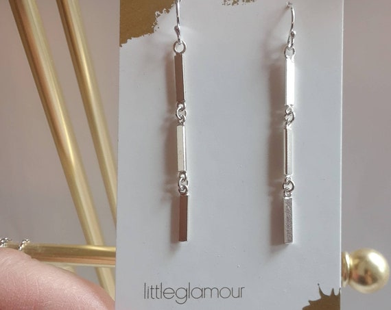 Sterling silver bar earrings, silver dangle earrings, silver drop earrings, long silver earrings, triple bar, sexy jewelry, christmas gift