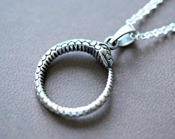 Snake necklace, sterling silver snake pendant, ouroboros snake jewelry, round snake, rebirth, fertility, ancient symbol, snake eating tail