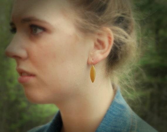 Gold spike earrings, brass ovals, gold earwires, everyday earrings, petal earrings, geometric earrings, simple dangle earrings, boho jewelry