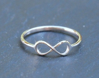Sterling silver infinity ring, stacking rings for women, eternity ring, romantic jewelry, bridesmaid gift, best friends, infinite symbol