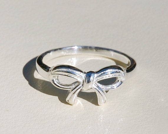 Sterling silver bow ring, bridesmaid gift, bow tie ring, tie the knot, friendship ring, promise ring, best friend gift, rings for women
