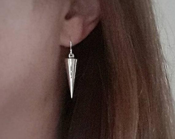 Spike earrings, sterling silver spike earrings, sexy earrings, dangle earrings, long earrings, silver cone, geometric, edgy, gift for her