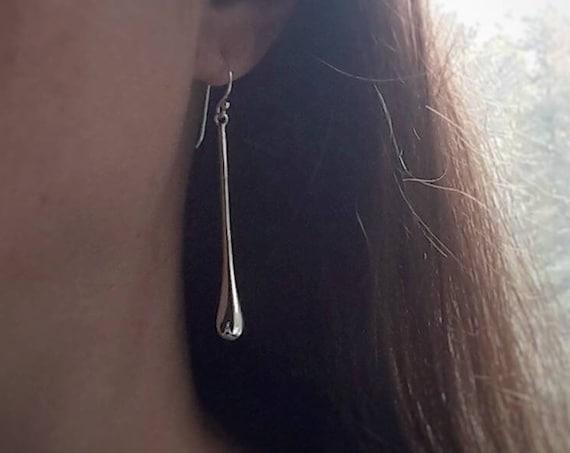 Teardrop earrings, sterling silver drop earrings, sexy earrings, dangle earrings, long earrings, gift for her, modern silver earrings