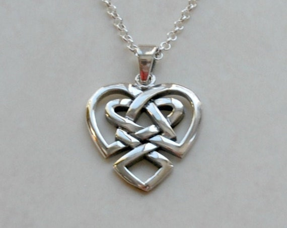 Celtic heart necklace, sterling silver heart pendant, gift for her, romantic, love knot, irish wedding, simple jewelry, birthday gift