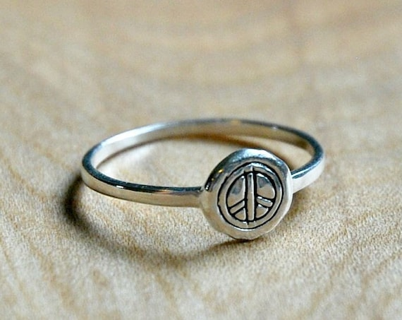 Sterling silver peace ring, silver peace symbol ring, stacking ring, rings for women, festival jewelry, hippie ring, bohemian jewelry