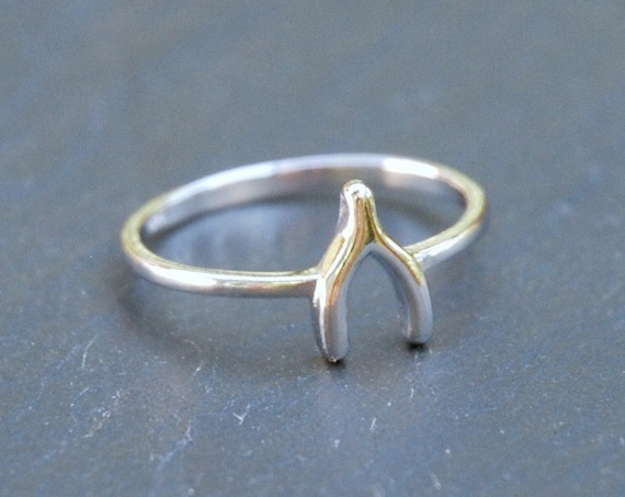 Sterling silver wishbone ring, silver stacking ring, make a wish, good luck charm, delicate jewelry, bridesmaid gift, rings for women
