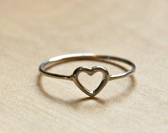 Sterling silver heart ring, silver rings for women, open heart, stacking ring, little heart, promise ring, minimalist ring, girlfriend gift