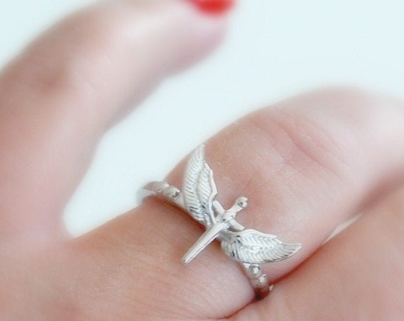 Sterling silver cross ring, silver stacking ring, memorial ring, winged cross, christian, religious freedom, guardian angel jewelry