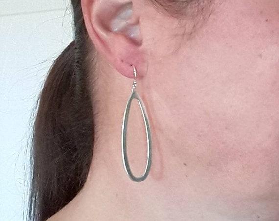 Teardrop earrings, sterling silver earrings, flat hoops, large silver hoops, elongated hoops, gift for her, geometric dangle earrings