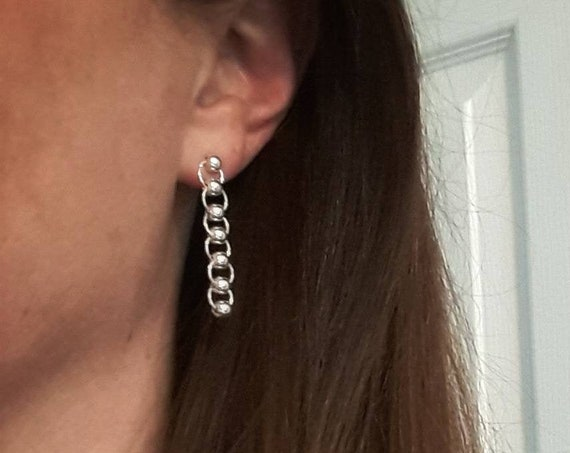 Sterling silver ball and chain earrings, circle studs, drop earrings, long silver earrings, dangle earrings, sexy jewelry, gift for her