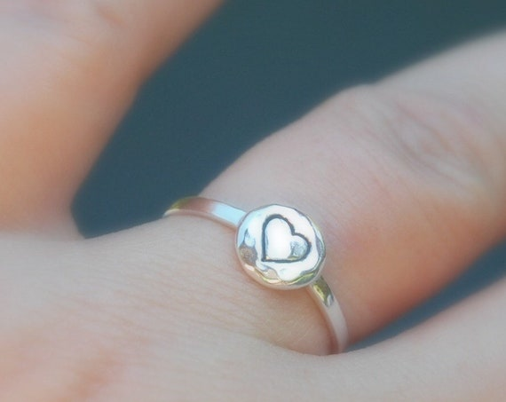 Sterling silver heart ring, silver skinny rings for women, thin stacking ring, dainty heart, romantic gift, promise ring, best friends ring