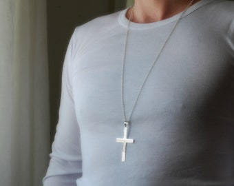 Large cross necklace etsy extra large silver cross necklace sterling silver cross cross pendant big cross long chain masculine mens cross classic jewelry prima aloadofball Gallery